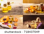 bottle of aroma essential oil... | Shutterstock . vector #718437049