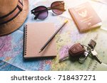 travel planner using world map... | Shutterstock . vector #718437271