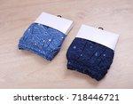 blue men short in packaging on... | Shutterstock . vector #718446721