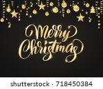 merry christmas card with hand... | Shutterstock .eps vector #718450384