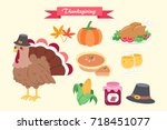 cute cartoon thanksgiving for... | Shutterstock .eps vector #718451077