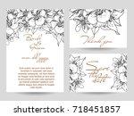 vintage delicate invitation... | Shutterstock . vector #718451857