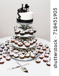 wedding cake and cupcakes.  | Shutterstock . vector #718451905
