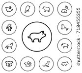 set of 12 editable zoo outline...