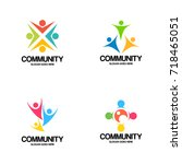 community logo vector art | Shutterstock .eps vector #718465051