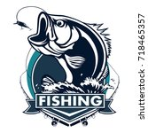 fishing logo. bass fish with... | Shutterstock .eps vector #718465357