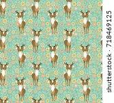 seamless vector floral pattern... | Shutterstock .eps vector #718469125
