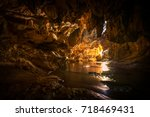 Beautiful Cave And River In...