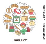 bakery background. icon set.... | Shutterstock .eps vector #718469581