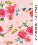 seamless summer pattern with... | Shutterstock . vector #718469659