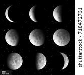 vector set of moon phases | Shutterstock .eps vector #718472731