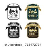 coffee shop and cafe label set. ... | Shutterstock .eps vector #718472734