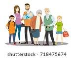 big cartoon family isolated on... | Shutterstock .eps vector #718475674