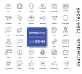 line icons set. contact us pack.... | Shutterstock .eps vector #718476349