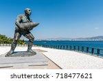 statue of famous turkish... | Shutterstock . vector #718477621