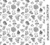 mushroom hand drawn vector... | Shutterstock .eps vector #718479199