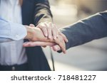 group of diversity people with... | Shutterstock . vector #718481227