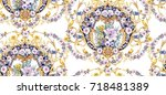baroque seamless pattern with... | Shutterstock . vector #718481389