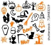 halloween party vector... | Shutterstock .eps vector #718483219