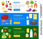 cartoon color healthy food...   Shutterstock .eps vector #718483897