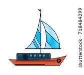 ship with sails icon image | Shutterstock .eps vector #718484299