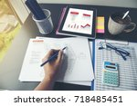 excel graph with spreadsheet... | Shutterstock . vector #718485451