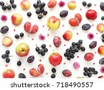 a composition of fruits on a... | Shutterstock . vector #718490557