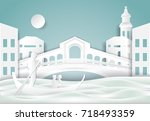 gondola and rialto bridge ... | Shutterstock .eps vector #718493359