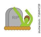 zombie and grave. gravestone... | Shutterstock .eps vector #718494739