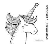 unicorn isolated. magical... | Shutterstock .eps vector #718502821