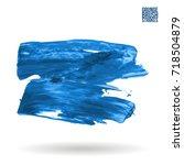 blue brush stroke and texture.... | Shutterstock .eps vector #718504879