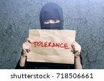 muslim girl in black hijab... | Shutterstock . vector #718506661