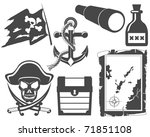 pirate black and white icon set | Shutterstock .eps vector #71851108