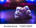 theater masks  drama and comedy ... | Shutterstock . vector #718511809