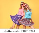 fashion. young woman having fun.... | Shutterstock . vector #718515961