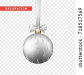 xmas balls silver color.... | Shutterstock .eps vector #718517569