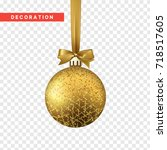 xmas balls gold color.... | Shutterstock .eps vector #718517605