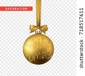 xmas balls gold color.... | Shutterstock .eps vector #718517611