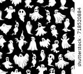 halloween ghost seamless...   Shutterstock .eps vector #718520884