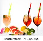 drink and food. fruit slice and ... | Shutterstock . vector #718523455