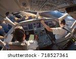 cockpit of a modern passenger... | Shutterstock . vector #718527361