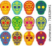 holy death  day of the dead ... | Shutterstock .eps vector #718528441