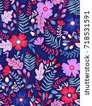 vector floral seamless pattern... | Shutterstock .eps vector #718531591
