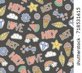 cute seamless pattern.... | Shutterstock .eps vector #718531615