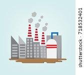industrial factory building in... | Shutterstock .eps vector #718532401