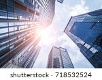 bottom view of office building... | Shutterstock . vector #718532524