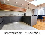 Stock photo kitchen living room 718532551