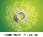 realistic cup of green tea with ... | Shutterstock .eps vector #718533901