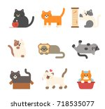 various behaviors of cute cats... | Shutterstock .eps vector #718535077