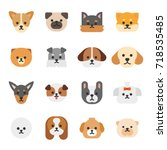 various breed dog face icons... | Shutterstock .eps vector #718535485